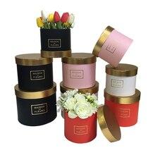 Круглая упаковочная коробка для цветов с золотым покрытием, дизайн, Подарочная коробка на Рождество, День благодарения, Подарочная коробка на День святого Валентина