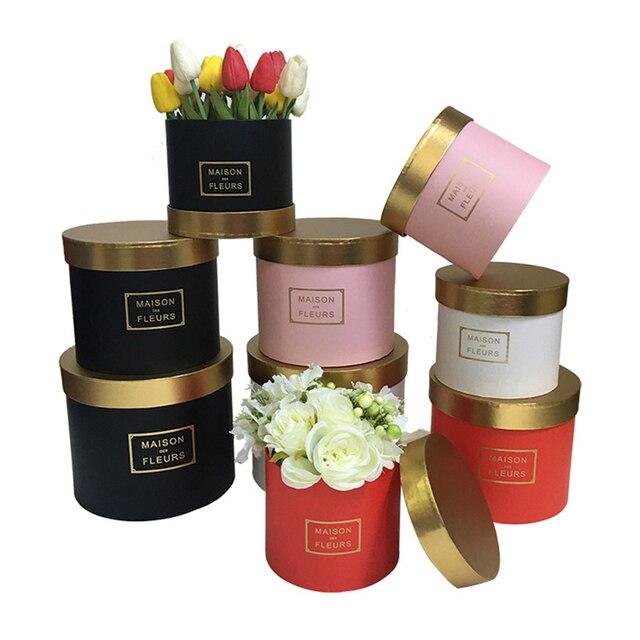 Boîte ronde avec couverture de couleur dorée pour fleuriste, coffret cadeau pour thanksgiving de noël, nouveau design 2020