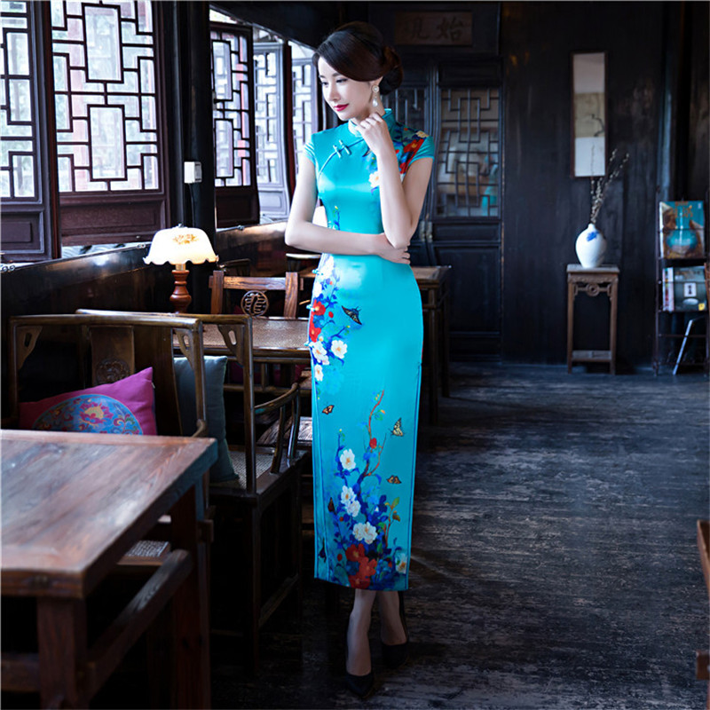 New Blue Vintage Print Women Slim Long Qipao Satin Sexy Chinese Style Party Dress Lady Floral Plus Size S-5XL Cheongsam freestyle revolution new red blue women s size large l junior ikat print shorts