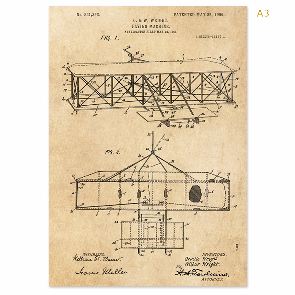 Vintage earlier airplane flying machine patent art prints sets 5 in ...