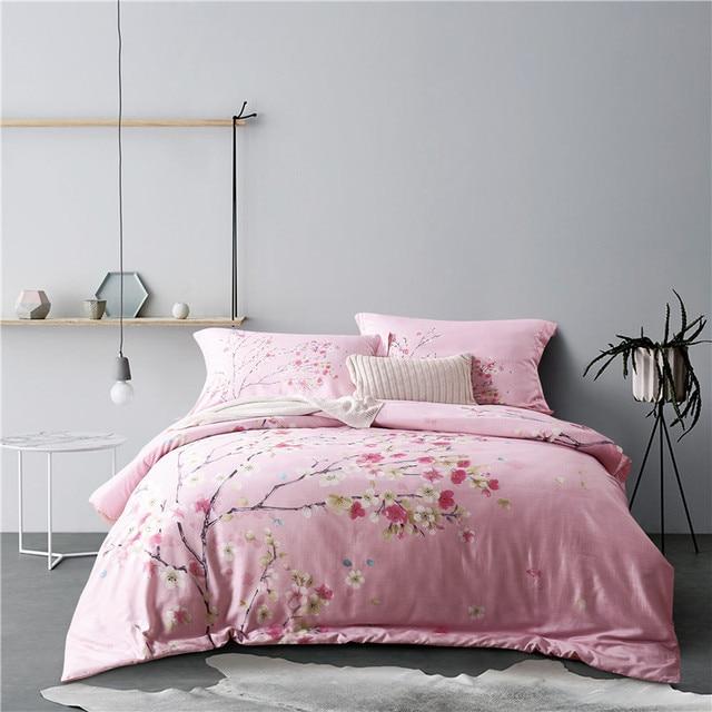 romantique rose cerise fleurs tencel coton lin ensemble de literie housse de couette drap de lit