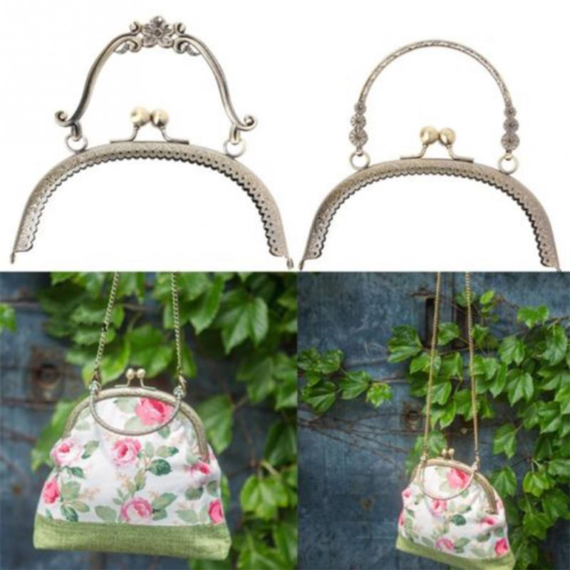 Luggage & Bags 1pc Alloy Purse Frame Handle For Women Clutch Bag Handbag Accessories Round Making Kiss Clasp Lock Antique Bags Hardware 16.5cm