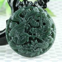 KYSZDL Classic Natural Real HeTian Yu Carved Dragon Phoenix Lucky pendants Amulet Pendant Necklace Fashion Jewelry