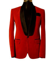 цена на Red Velvet Shawl Lapel Men's Suits Dinner Groom Wedding Formal One Button Blazer