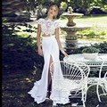 New 2017 Boho Chiffon A Line Wedding Dresses Short Sleeves Lace Front Split Two Pieces Bridal Gowns Custom Made Size New Arrival