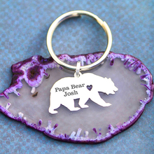 Personalized Grizzly Bear Keychain Wild Animal Poppa Papa Gift  Fathers Day Gifts Accept Drop Shipping YP6065