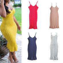 Summer Women Boho Polka Dot Maxi Dress Party Evening Beach Sundress Plus Size