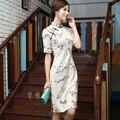 Shanghai Story Top Quality Cotton Linen blue cheongsam dress Chinese Women's Cheong-sam Floral print Chinese Qipao dress SZ790
