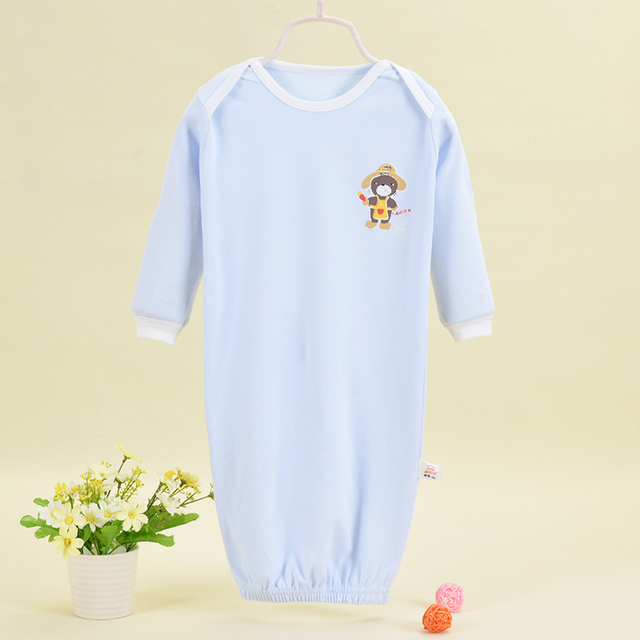 baby's bathrobes with monkey character picture unisex full cotton material jumpsuits lengthen protect kids tummy nightclothes