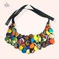 BRW Top Fashion Women False Collar Pure Handmake Cotton Fabric Necklace Vintage Colorful Choker WYA068