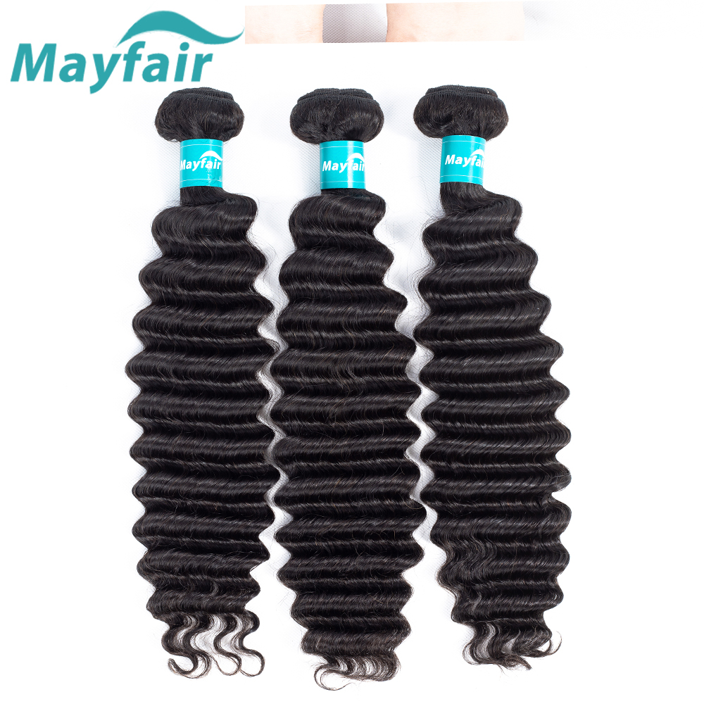 Peruvian Loose Deep More Wave Hair Weave Bundles Natural Black Color Mayfair Remy Hair Extension 100% Human Hair Bundles