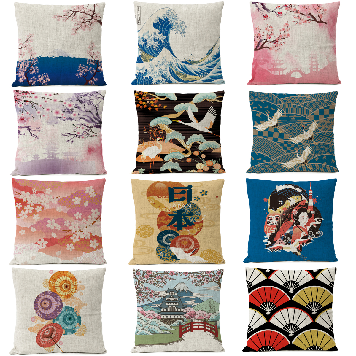 Japanese Ukiyo-e Pillow Cover Fuji Mountain Cherry Blossom Wave Cushion Cover Home Decorative Linen Pillow Case Cojines Almofada
