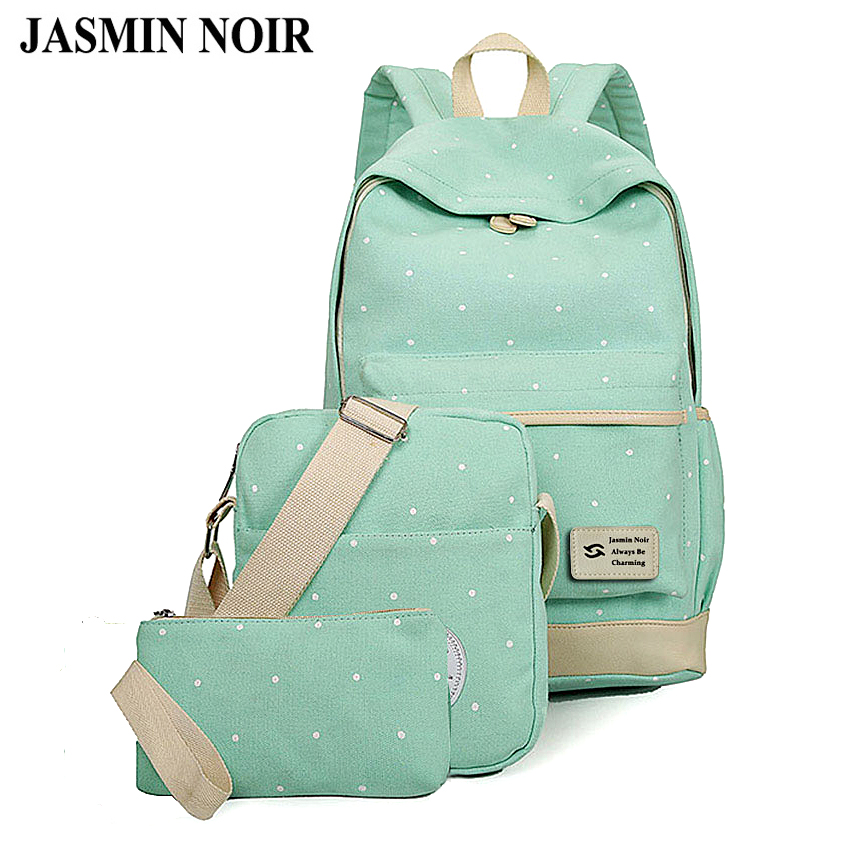 Fresh Canvas Women Backpack Big Girl Student Book Bag With Purse Laptop 3pcs Set