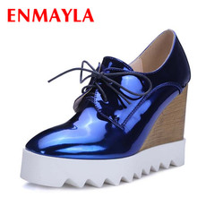 ENMAYLA Spring Autumn Fastion High Heels Platform Shoes Women Lace Up Wedges Heel Derby Shoes Woman Casual Shoes Gold Silver стоимость