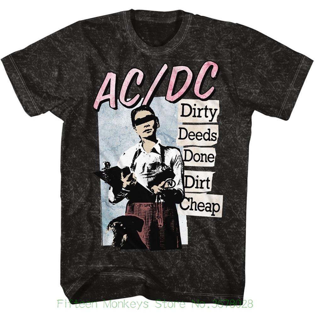 Men Short Sleeve Original Acdc Dirty Deeds Mineral Wash Adult Short Sleeve T-shirt ...