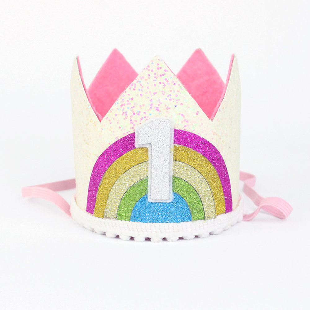Rainbow Birthday Crown 1st Hat First Princess One Year Old Glitter In Party Hats From Home Garden On Aliexpress