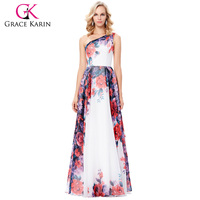 Grace Karin One Shoulder Floral Print Evening Dresses Abendkleider 2017 Chiffon Cheap Long Evening Gown Party