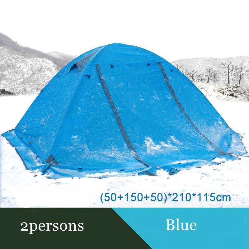 Tente de camping Flytop extérieure 2 personnes ou 3 perons double couche en aluminium pôle anti-neige tente familiale extérieure avec jupe de neige - 4