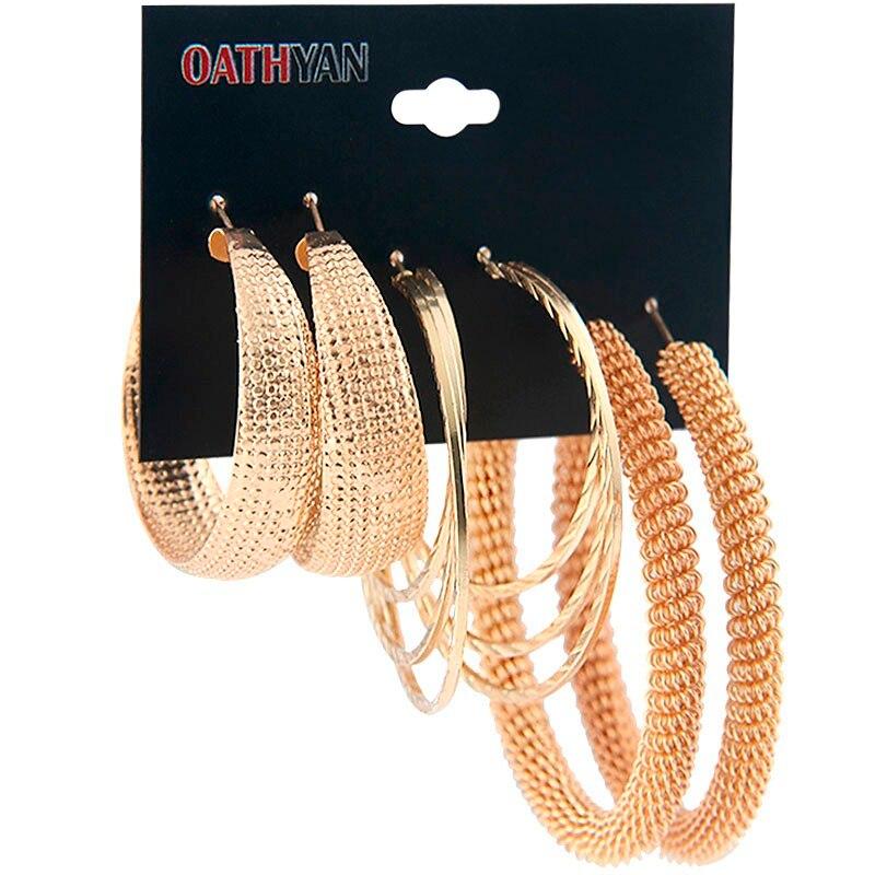 332556570962 OATHYAN 3 par set clásico de gran tamaño de Color oro pendientes de aro de