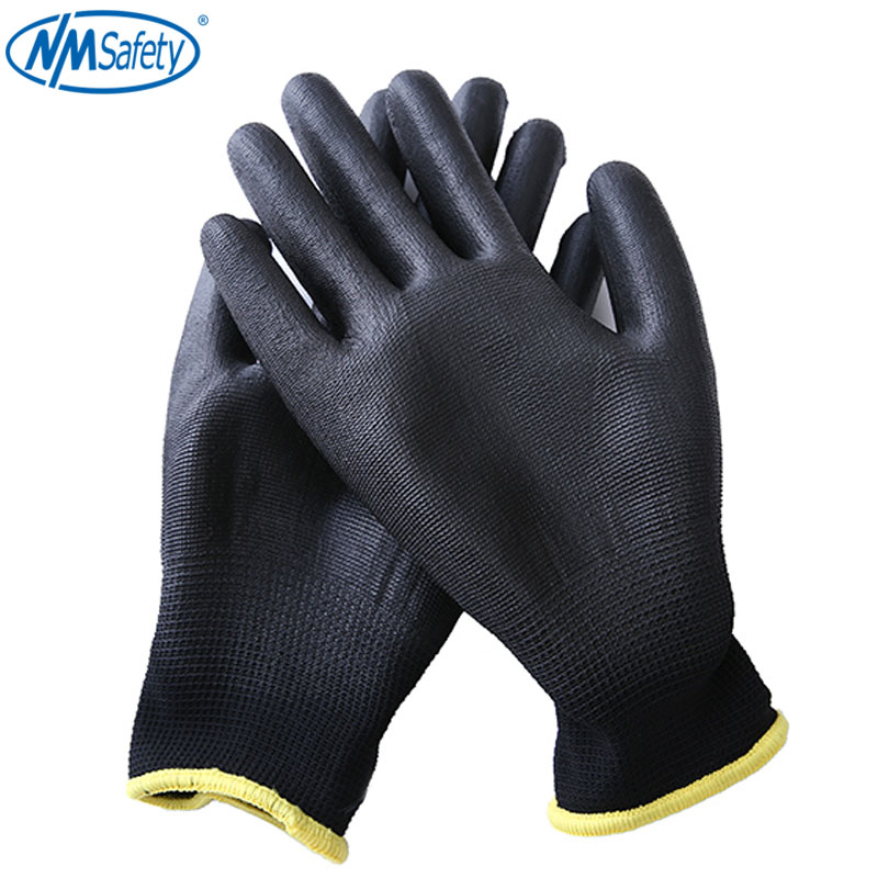 NMSafety 2/12 pairs Black Nylon PU Safety Work Gloves Builders Grip For Palm Coating Gloves 1 pair nylon pu palm coated protective safety work gloves garden grip builders