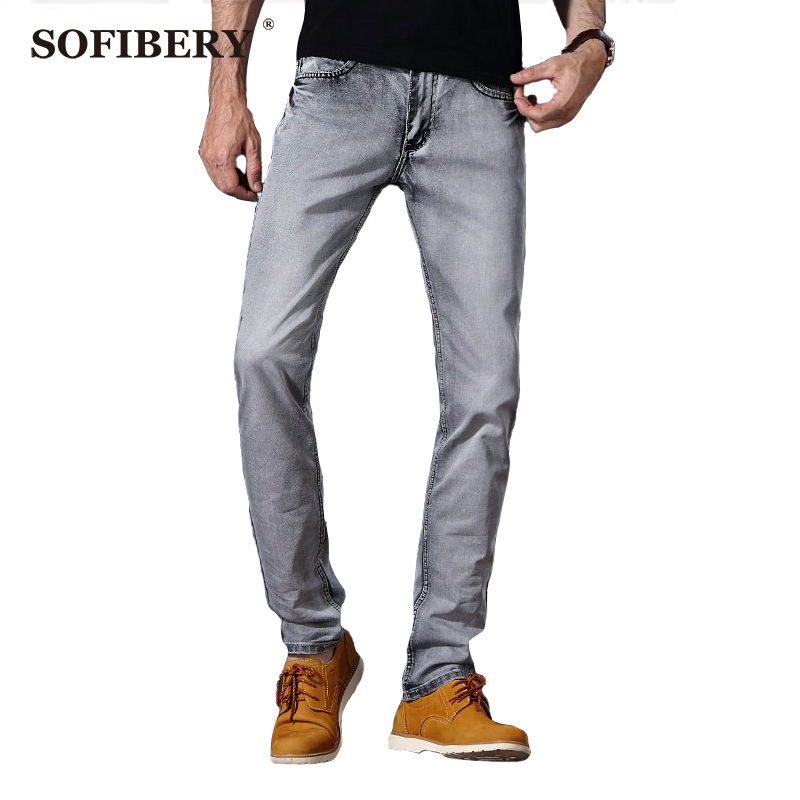 ФОТО SOFIBERY  Brand Men's Jeans European-style gray super stretch jeans Slim Straight direct fall in prices Also free to send a gift