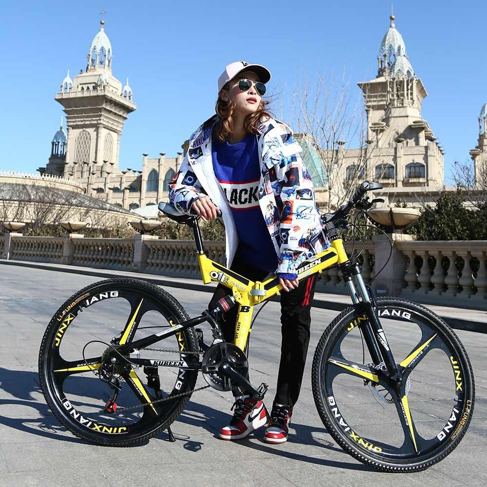 KUBEEN горный велосипед 26 дюймов сталь 21-Скоростные Велосипеды двухдисковые тормоза переменной скорости шоссейные велосипеды гоночный велосипед BMX велосипед
