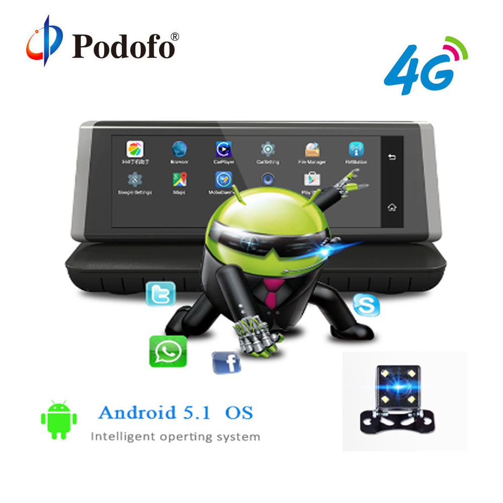 Podofo DVR Car Camera 4G ADAS Android wifi GPS FHD 1080P Video Recorder Dual Lens Registrar 8″Touch Screen ROM 16GB Camcorder