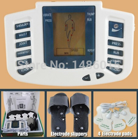 Electrical Stimulator Health care Full Body Relax Muscle Therapy Massager Pulse tens Acupuncture with slipper+ 8 pads JR-309