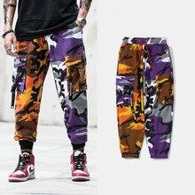 Tactical Pocket Trouser Camo Cargo Mens Pants Ribbon Hip Hop Casual Streetwear Camouflage pants loose running patchwork Rokit