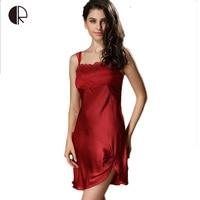 100% Satin Silk 2016 Summer Lady Women Straphetti Strap Nigh Dress Nightgowns Women Sexy Sleepwear Lingerie Free Shipping AP319
