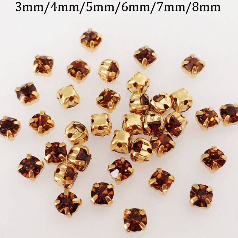 Detail Feedback Questions about Yellow smoke color high quality glass sew  on rhinestone gold claw cc56c20044e1