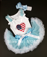 Mavi Beyaz Bebek Pettiskirt Amerika Kalp Mavi Fırfır Beyaz Yay Üst Set MANG1117