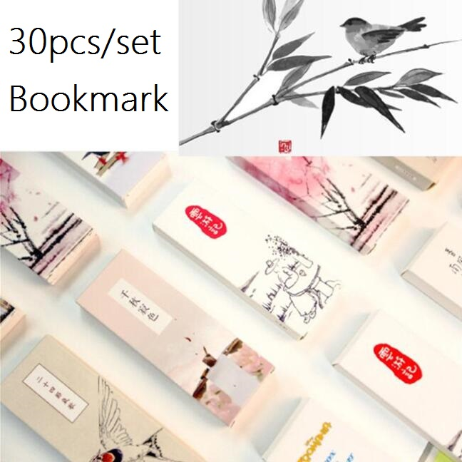 Promotional Gifts 30pcs/set Retro Chinese Style Good Nice Bookmark Set.nice  Gift.message Card.office School Supplies.retail Grea