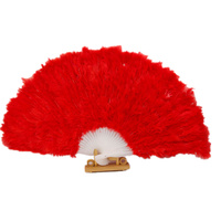 High Quality Very Big Dance Fan White Red Yellow Feather Fan Turkey Feather Fan Belly Dance