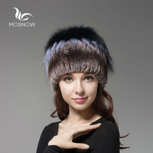 a8fd53e05d5 MOSNOW New Women Winter Caps Female Hat Rex Rabbit Fur With Fox Fluffy Top  Solid Fashion