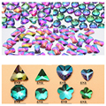 10pc/lot 8*8mm 3D Nail Art Decorations Fancy AB Crystals Flatback Iridescence Fire Diamond Nail Jewelry for UV Gel Nail