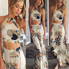 0f9afd0958 2019 Summer Sexy Women Strapless Two Pieces Dress Suit Tropical Print Tube  Top