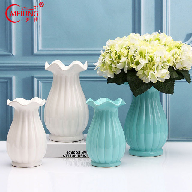 Modern Big Belly Glaze Ceramic Vases For Weddings Centerpieces White