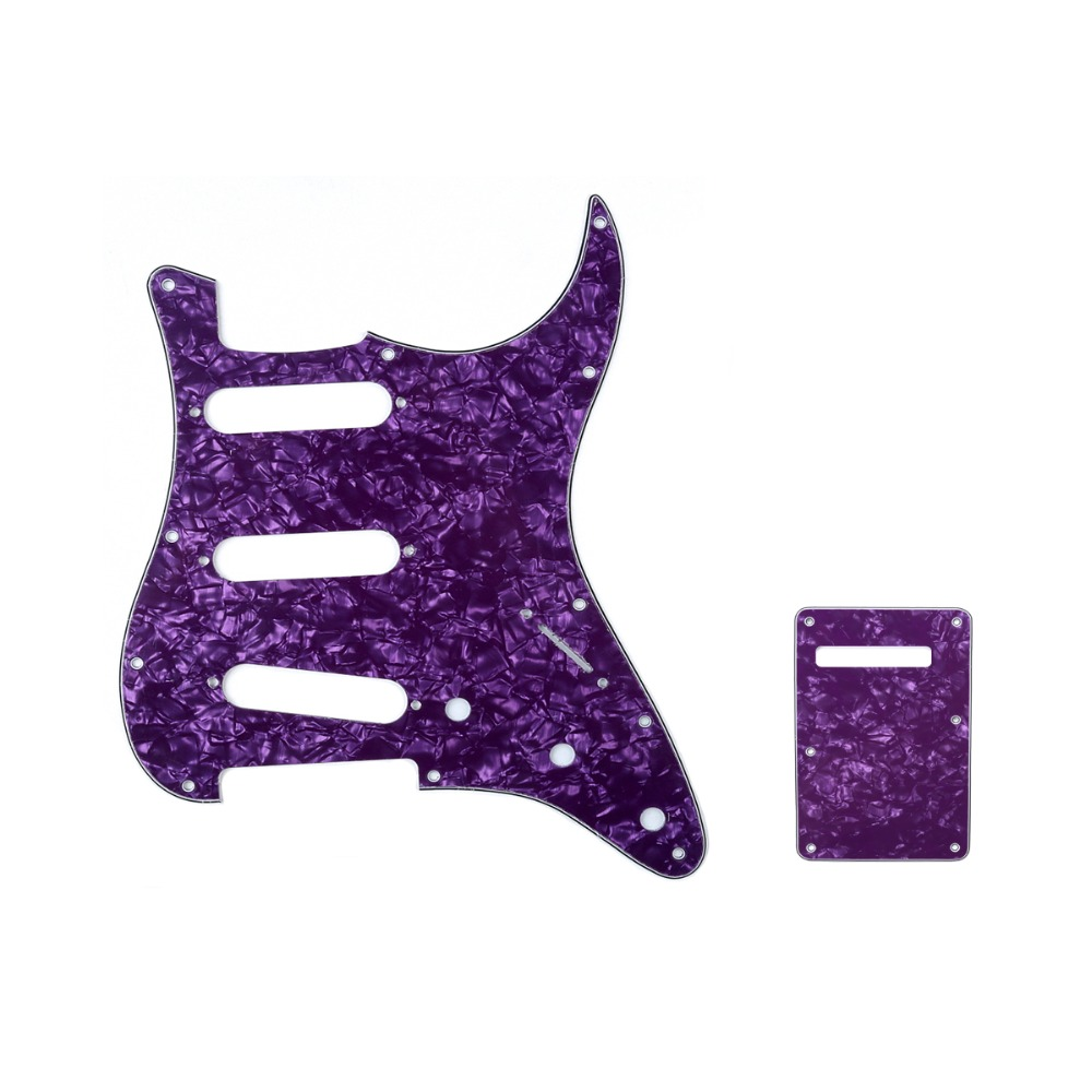 Musiclily SSS Strat Pickguard & Back Plate Set For Fender Stratocaster Strat US/Mexico Standard Modern Style Guitar Parts musiclily pro 4ply 11 hole strat hss style guitar pickguard scratch plate pick guard for st stratocaster