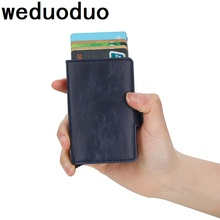 Metal RFID Double Card Holder Men Business Credit Crazy Horse PU Leather Case Aluminium Box Travel Wallet