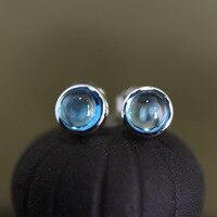 כסף סטרלינג 925 אבן כחול טבעי הגעה חדשה תליית כסף מעגל עגילים לתכשיטי נשים עגילי סט