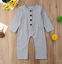 Newborn Infant Baby Boys Girls Jumpsuit Solid Fold Button Homewear Casual Romper Baby Onesies Newborn Little Girls Rompers(China)