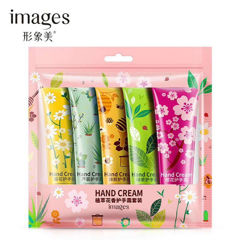 Images 5pcs/set Plants Hand Cream Set Aloe Cherry Moisturizing Hand Cream Nourishing Anti Chapping Oil Control Hand Care
