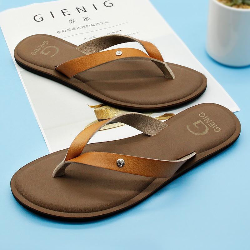 GieniG 2018 cuero mujeres verano chanclas zapatillas de tacón bajo - Zapatos de hombre - foto 3