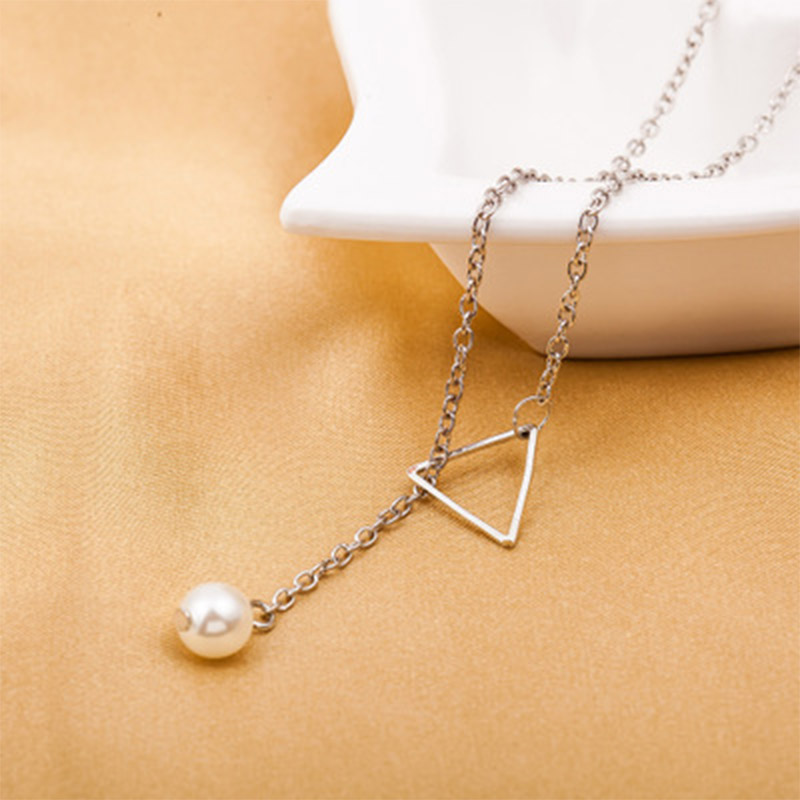 2019 Fashion Women Simple Necklace Hollow Triangle Adjustable Pearl Pendant Necklace Chain Jewelry for Women Girl Gifts WD179 in Pendants from Jewelry Accessories