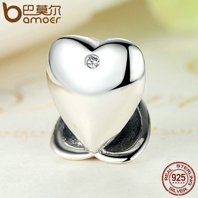 Sterling Silver Romantic Love Heart Beads Fit Charm