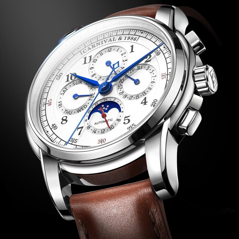 CARNIVAL Fashion Casual Men Automatic Mechanical Watch Luminous Genuine Leather Waterproof Calendar Men Clock relogio masculino