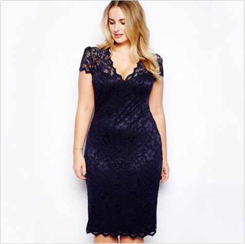 <font><b>2015</b></font> Summer <font><b>Sexy</b></font> Slim Women Casual Lace Bodycon Dresses Mini Dress V-Neck Floral Pencil Dress Navy Blue Vestido PLus Size M-4XL image