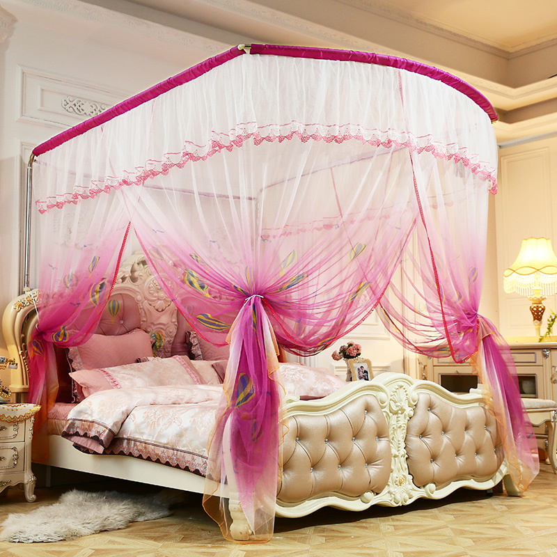 Luxury Rose Red Purple Blue U type Palace Style Guide Rail Three Open Door telescopic Mosquito Net Contains Mosquito Net Frame