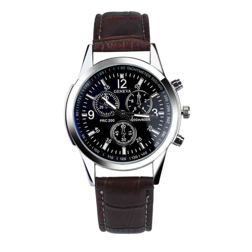 Reloj de moda de lujo de cuero de imitación para hombre relojes analógicos Envío Directo 2018JUL10